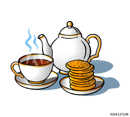 English tea teapot and wafers Great Britain clipart.