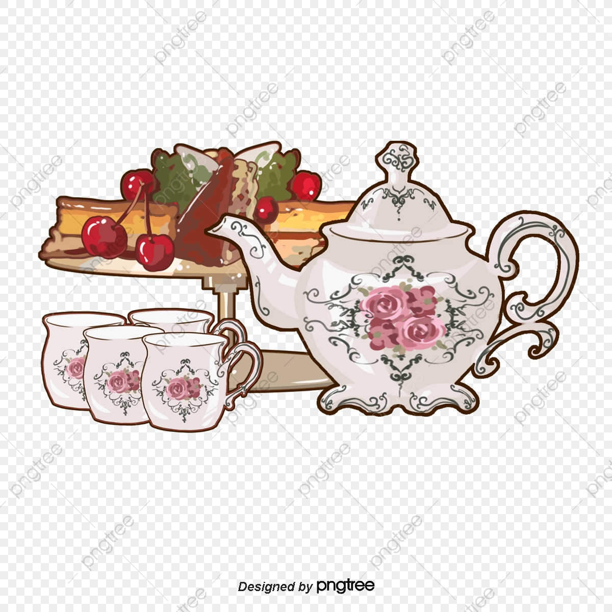 English Afternoon Tea Set Snacks, Afternoon Tea, Cherry, Rose PNG.