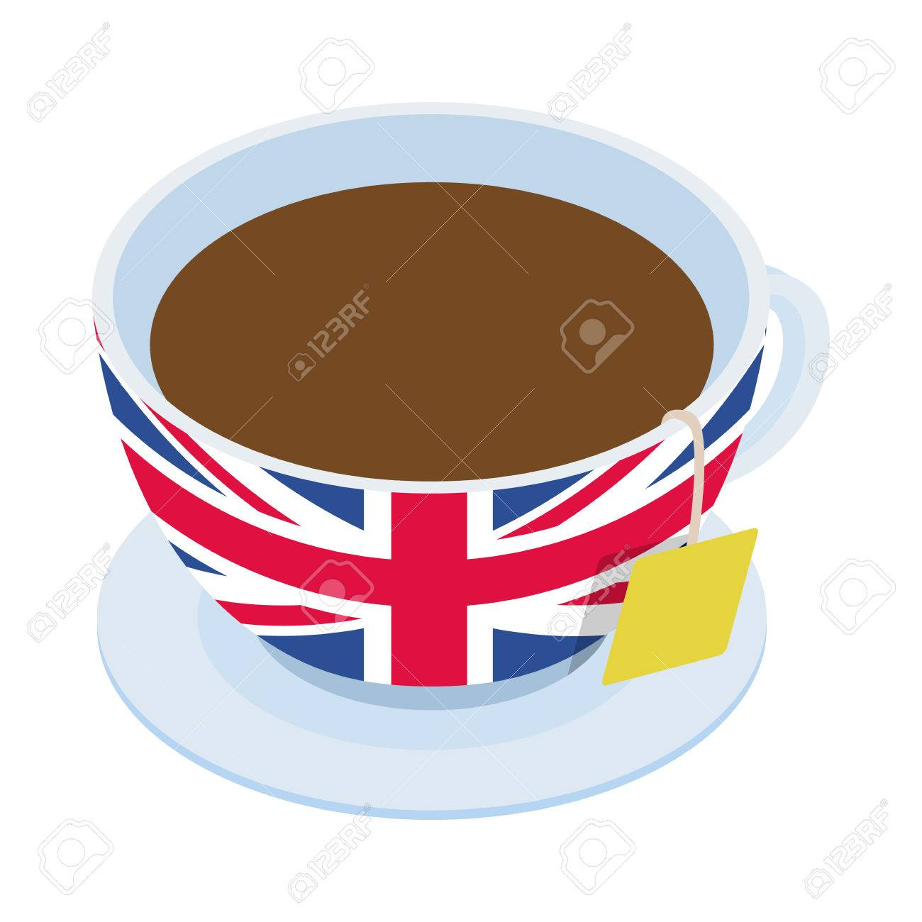 British tea cup icon in isometric 3d style on a white background.