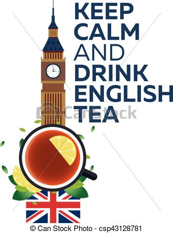 Tea time. Cup of tea with lemon. English tea. Vector illustration..