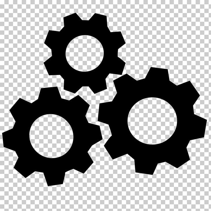 Símbolo de producción de iconos de computadora, engranajes.