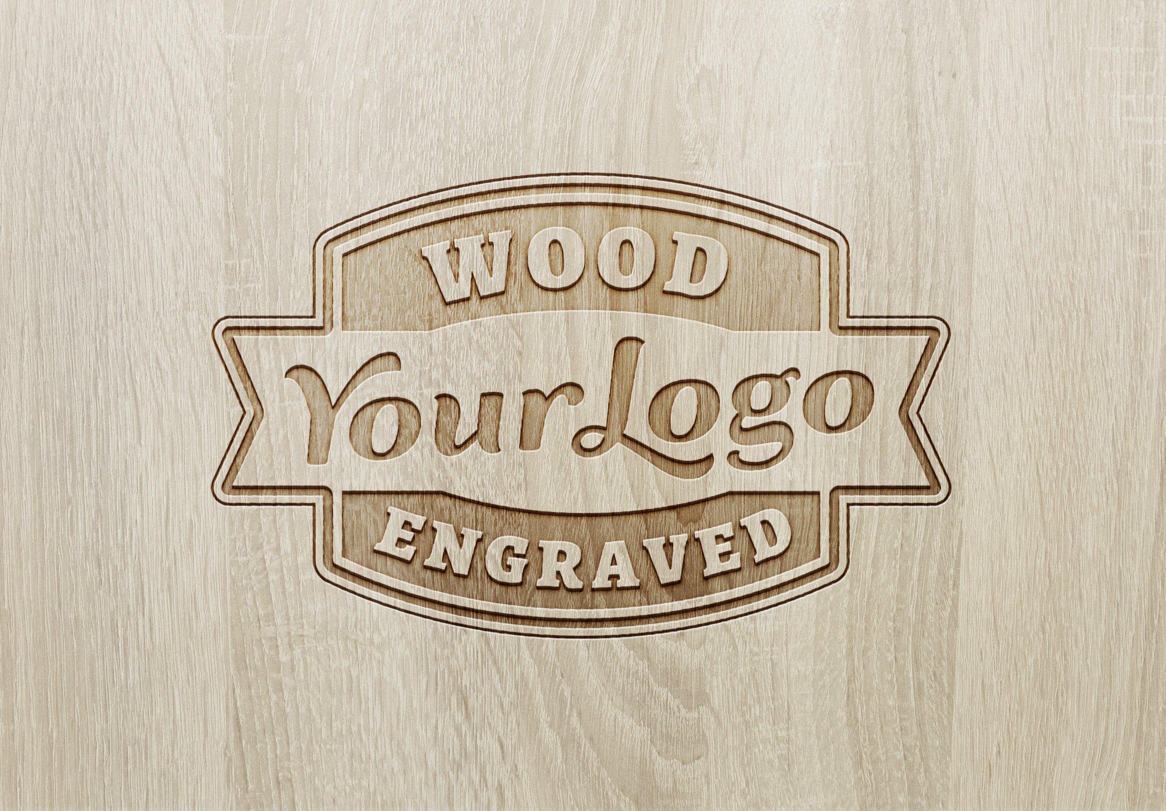 Free Authentic Wood Engraved Logo MockUp.