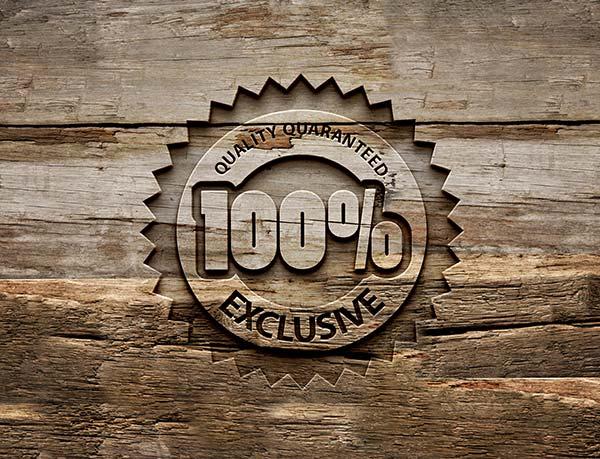 Engraved Wood Logo MockUp.