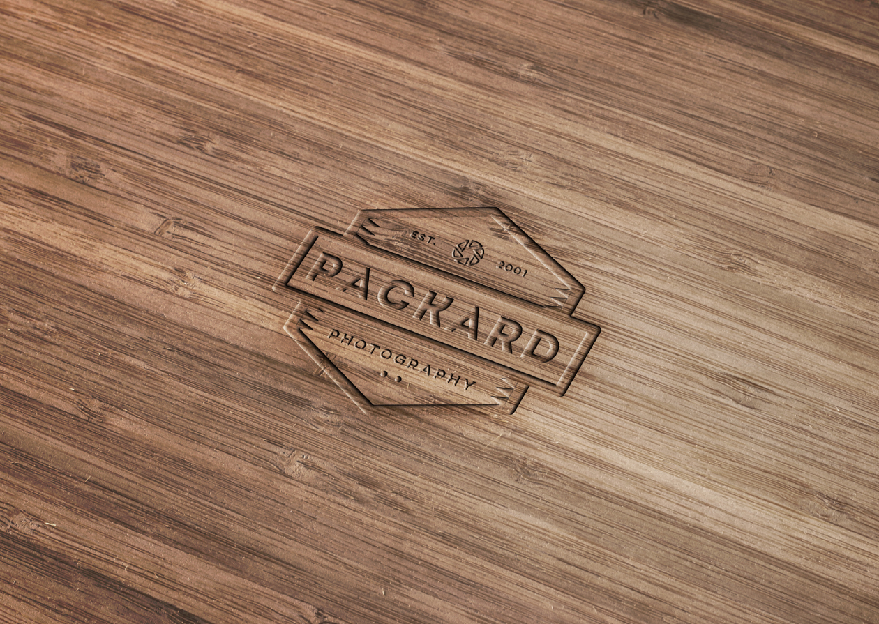 Wood Engraved Logo Mockup with Photoshop.
