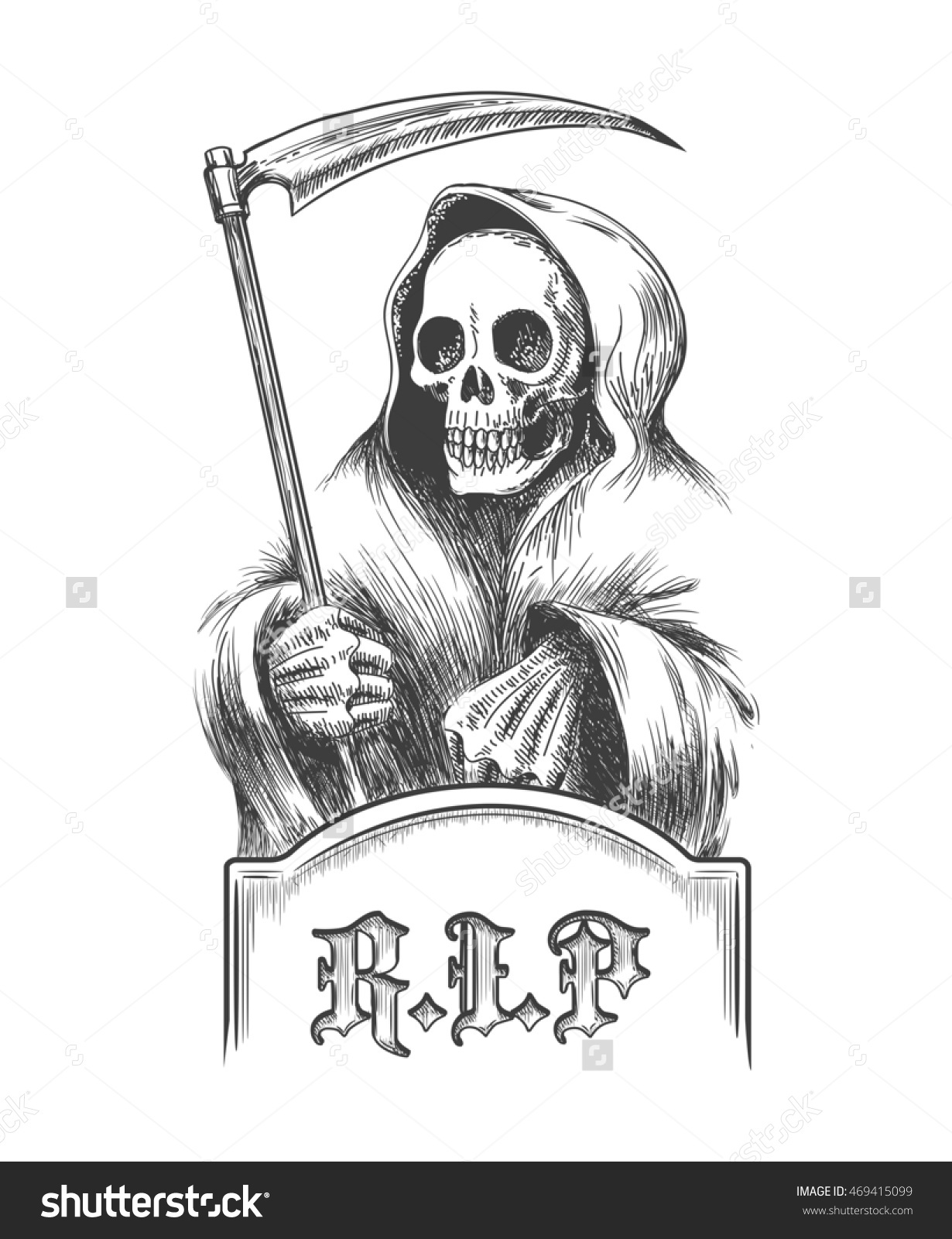 Death With A Scythe On The Cemetery Over A Tombstone. Illustration.