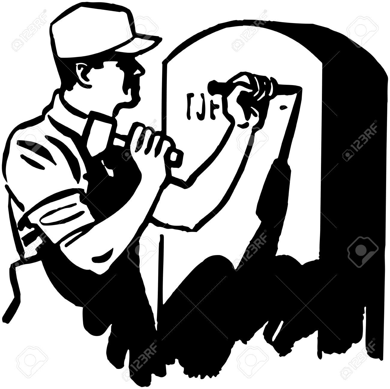 Man Engraving Tombstone Royalty Free Cliparts, Vectors, And Stock.