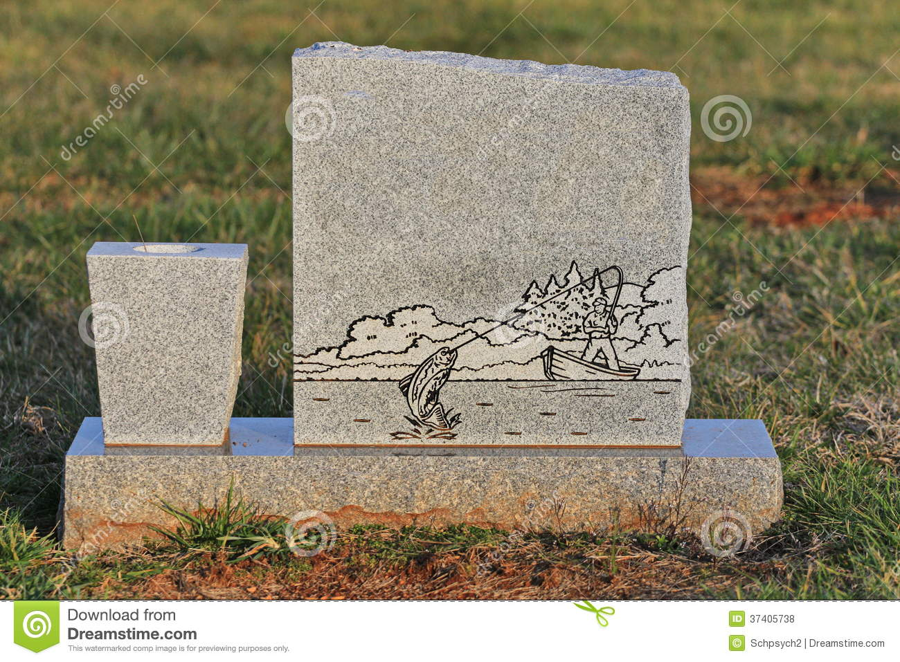 Blank Tombstone With Engraved Fisherman Royalty Free Stock Photos.