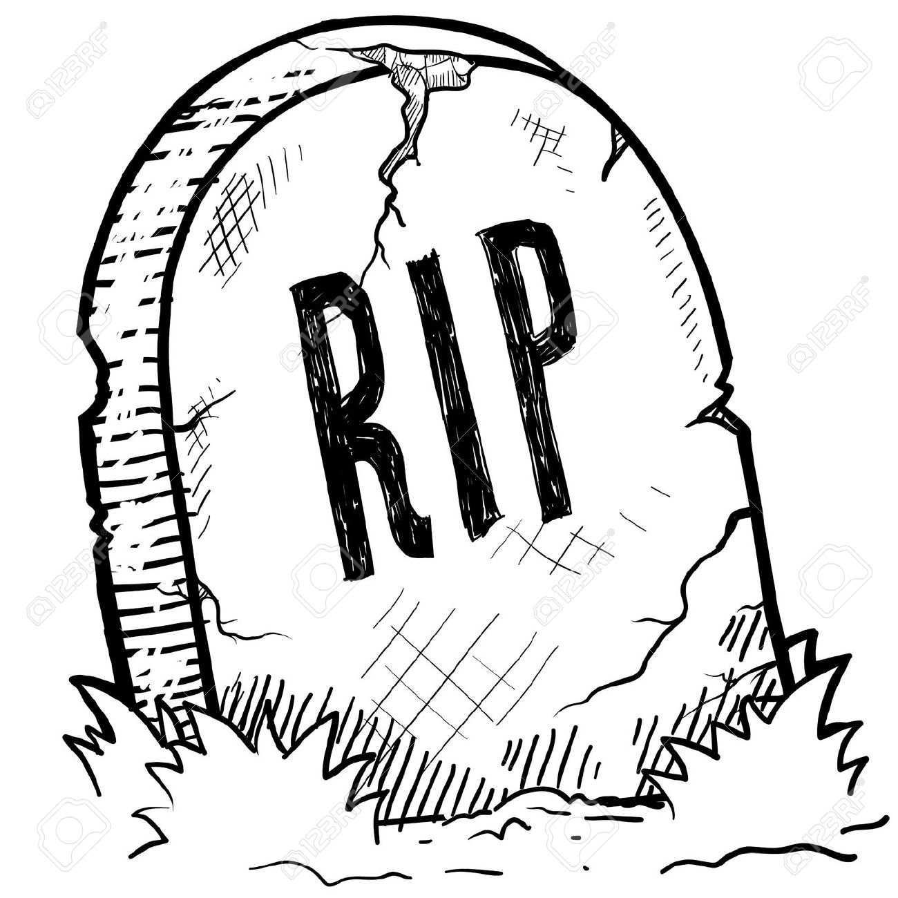 Doodle Style Tombstone With RIP Engraving Sketch In Vector Format.