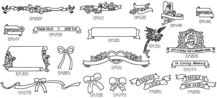 Engraved books and engraved ribbon designs for headstone memorials.
