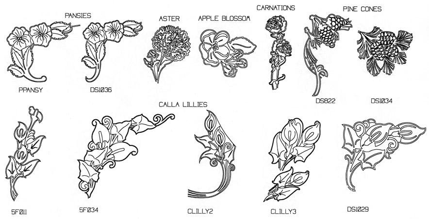 Engraved flower designs samples for headstone memorials.