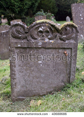Blank Tombstone Engraved With Skulls Stock Photo 40688686.