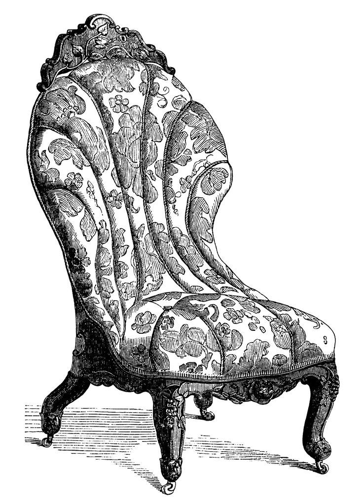 Victorian furniture clip art, vintage couch set, living room sofa.