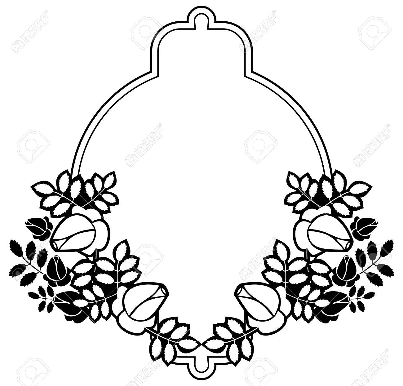 Black and white silhouette floral frame. Ornament for laser engraving.