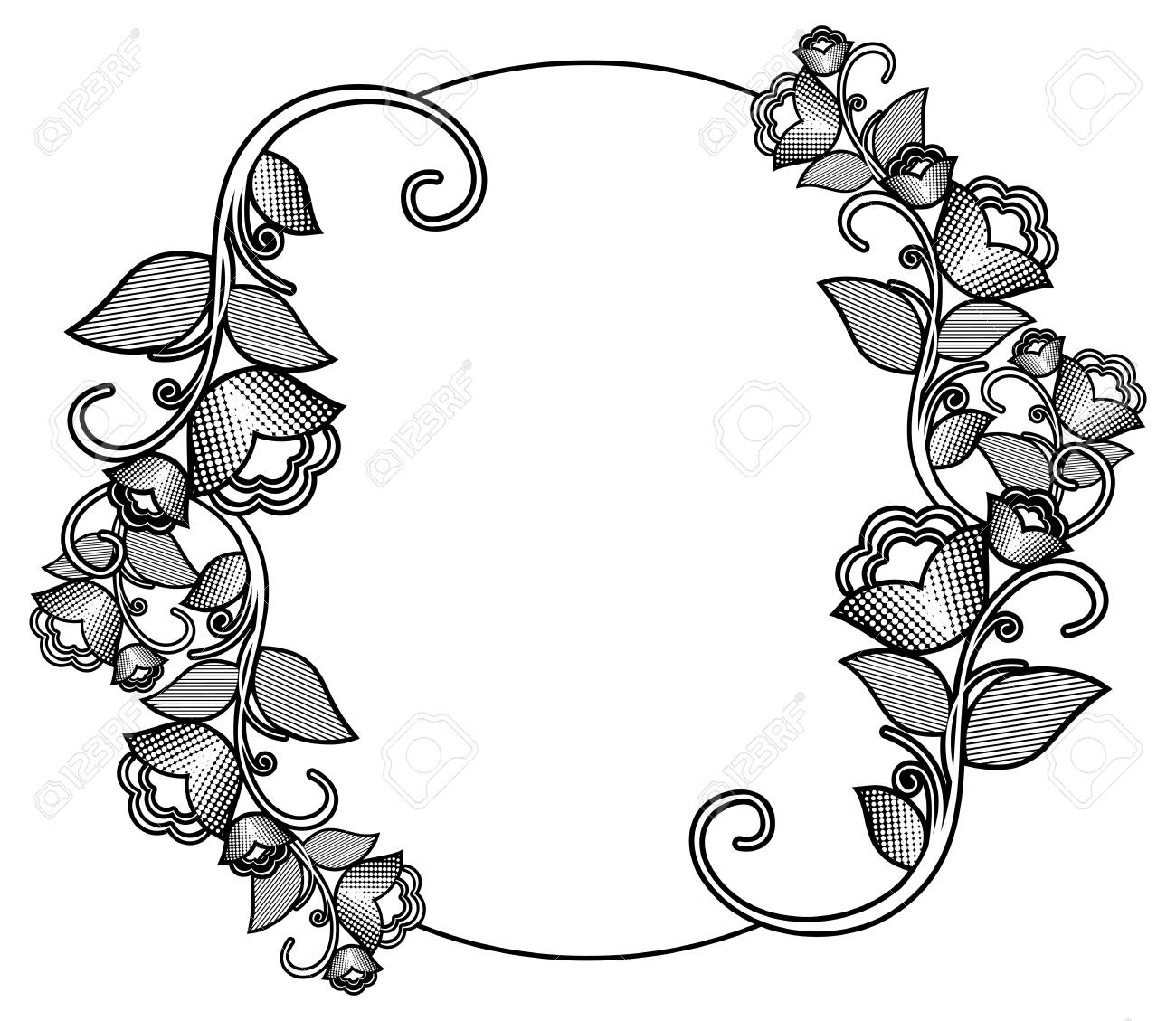 Silhouette floral round frame with halftone pattern. Ornament...