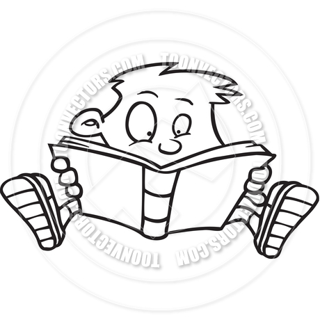 Cartoon Boy Reading (Black and White Line Art) by Ron Leishman.