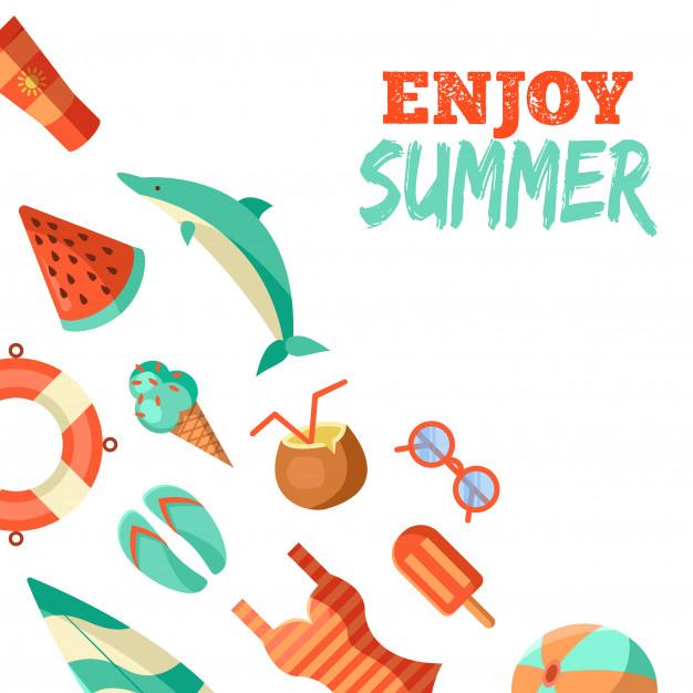Summer logo illustration. summer time, enjoy your holidays.