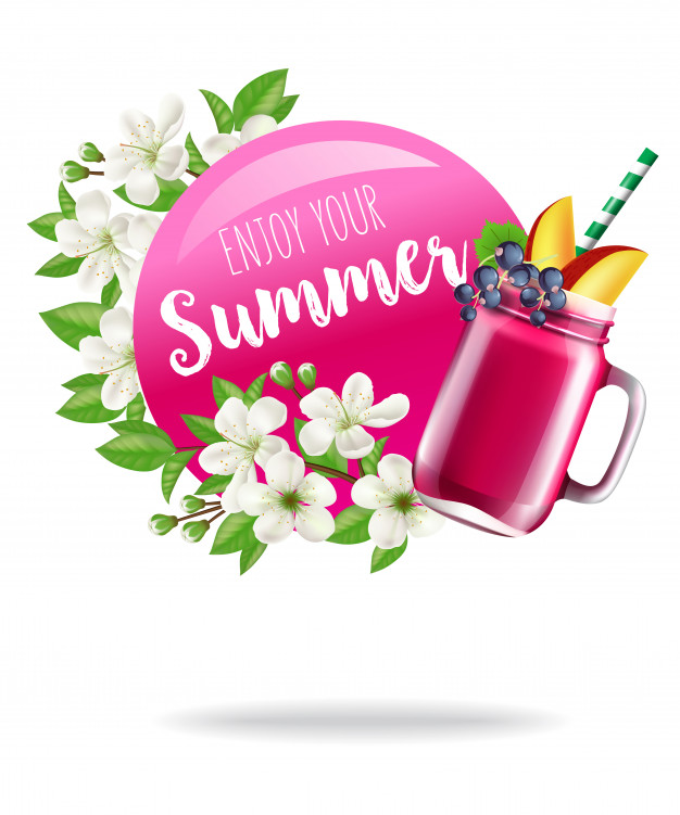 Enjoy your summer seasonal poster with blossoms and fruit.