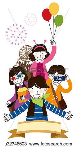 Drawing of Group of people enjoying fair u32746603.