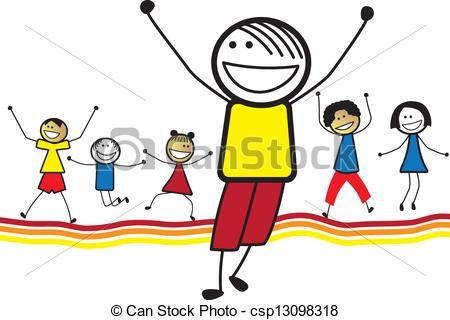 Vector Clip Art of Illustration of happy children(kids)jumping.
