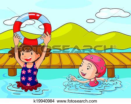 Clipart of Kids enjoying the refreshing water k19940984.
