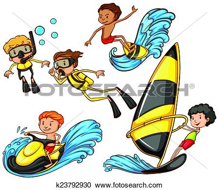 Clipart of A group of people enjoying the watersport activities.