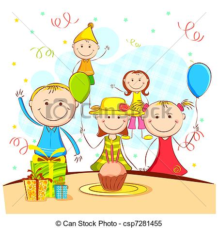 Clipart Vector of Kids Enjoying Party.