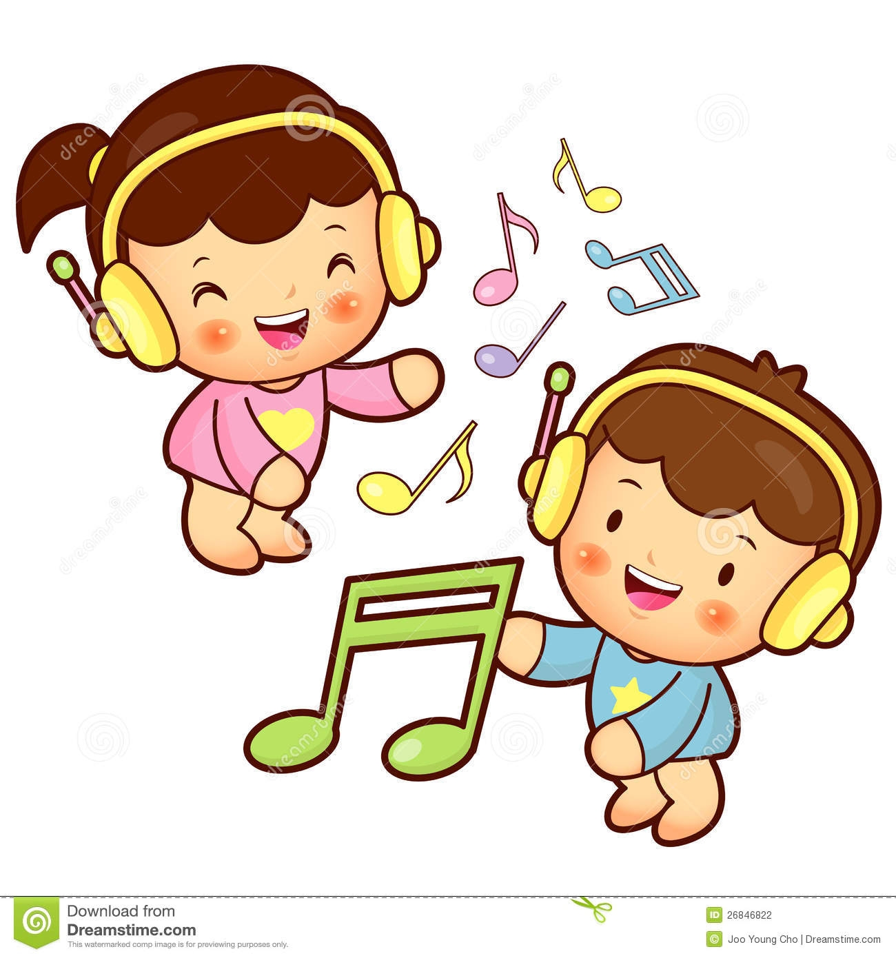 Enjoying music clipart.