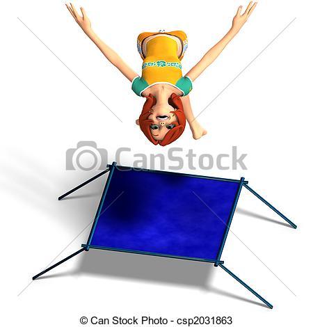 Stock Illustration of toon kid enjoys trampoline.
