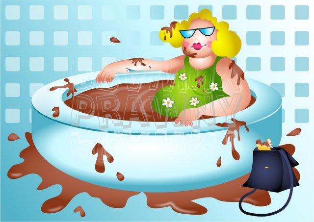 Betty Enjoys a Chocolate Bath Prawny Clip Art People.