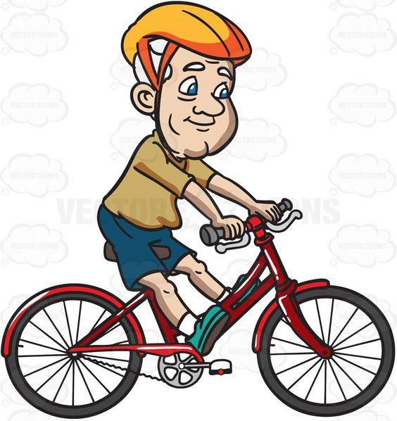A Grandpa Enjoys Riding A Bike.