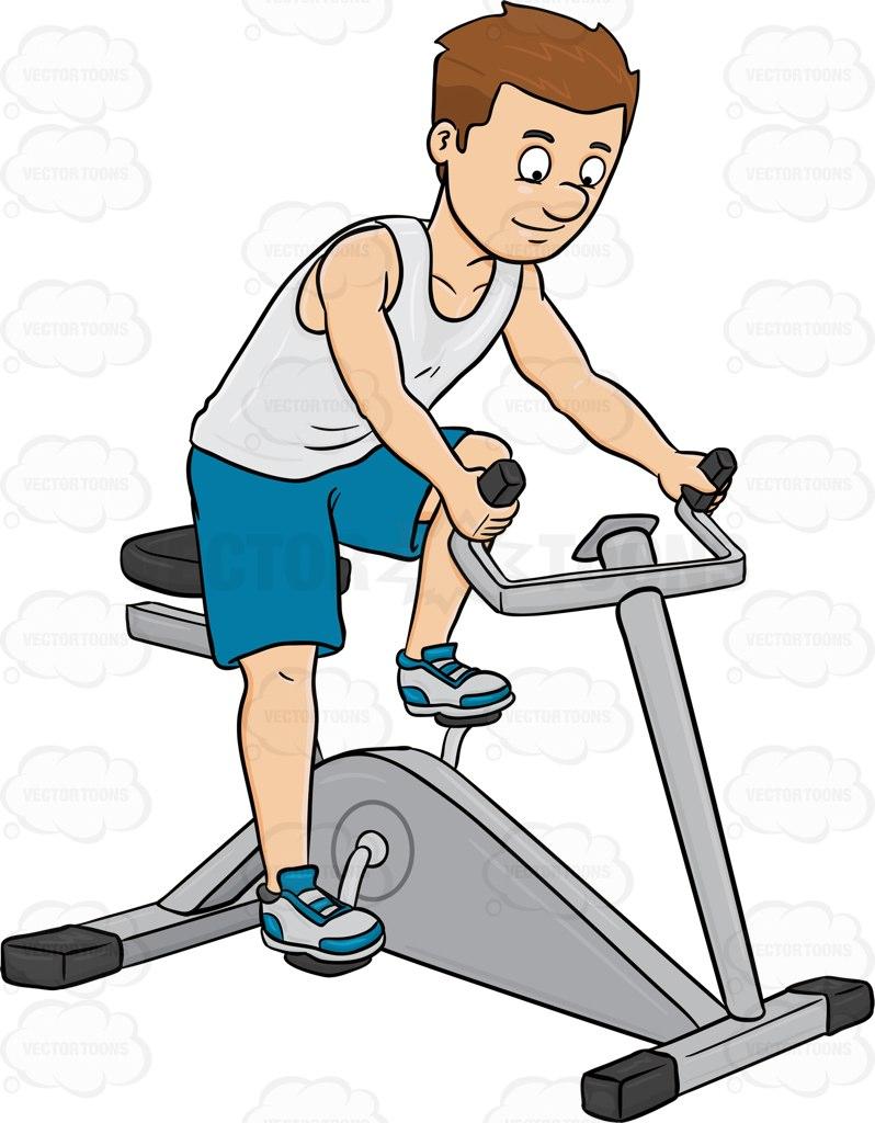 A Man Enjoys Riding A Stationary Bike Cartoon Clipart.