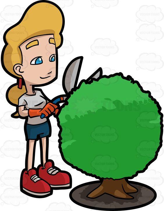 A Woman Enjoys Shaping A Shrub In Her Garden.