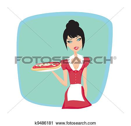 Clipart of beautiful waitress enjoys pizza k9486181.