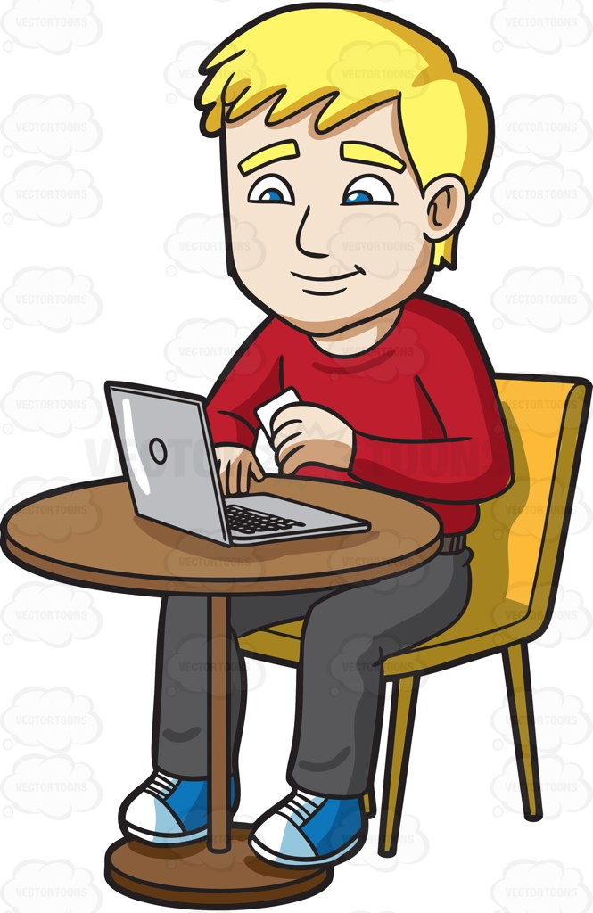 A Man Enjoys The Convenience Of Paying Bills Online Cartoon Clipart.