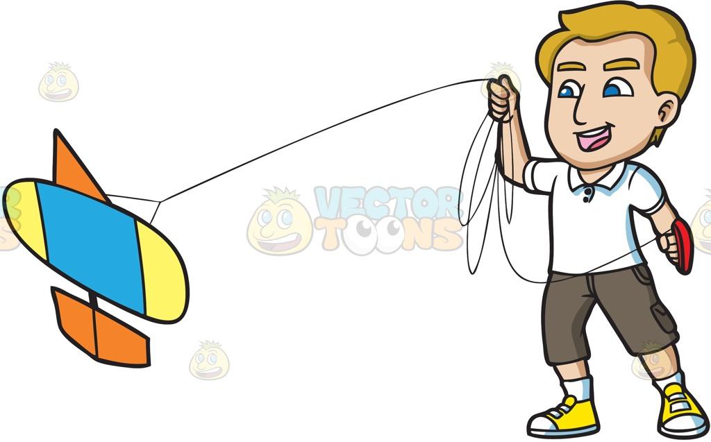 A Man Enjoys Flying His New Kite Cartoon Clipart.