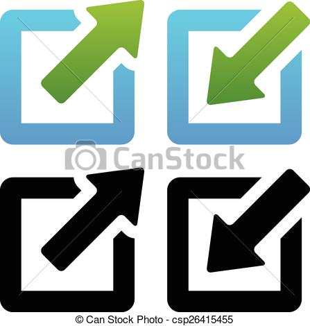Clipart Vector of Shrink / Enlarge or Minimize / Maximize Icons.