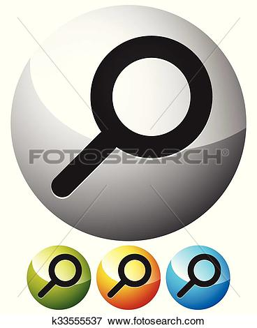 Clip Art of Magnifier / Magnifying glass symbol, icon. Search.