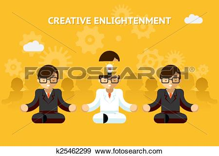 Clip Art of Creative enlightenment. Business guru creative idea.