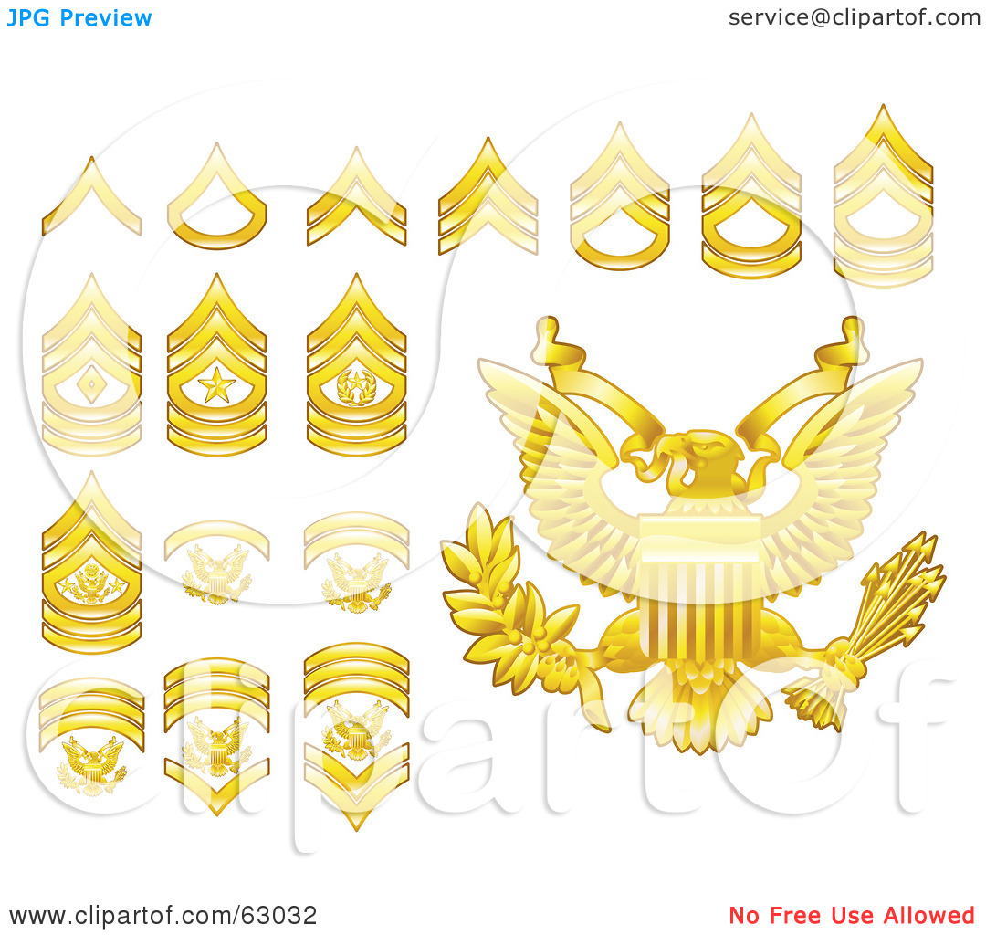 Army enlisted ranks clipart.