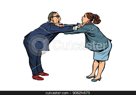 man against woman. gender confrontation and enmity stock vector.