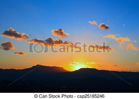 Stock Photo of Enna and Calascibetta skyline.