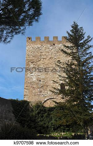 Pictures of Tower of Castello di Lombardia medieval castle in Enna.