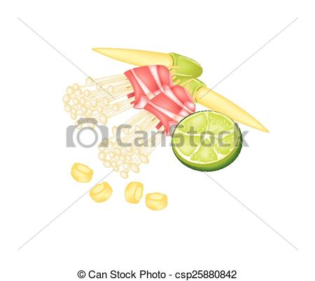 EPS Vector of Bacon and Enoki Mushroom Roll with Baby Corn and.