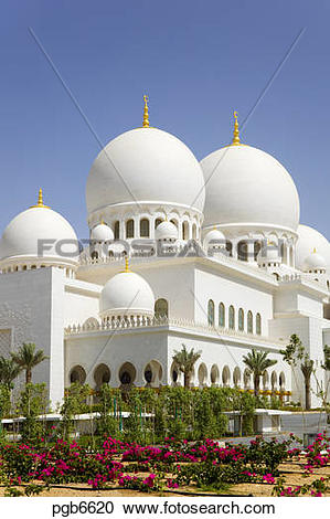 Stock Photography of Abu Dhabi. Sheikh Zayed Grand Mosque built in.