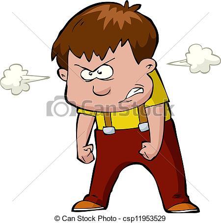 Vector Illustration of Enraged child on a white background vector.
