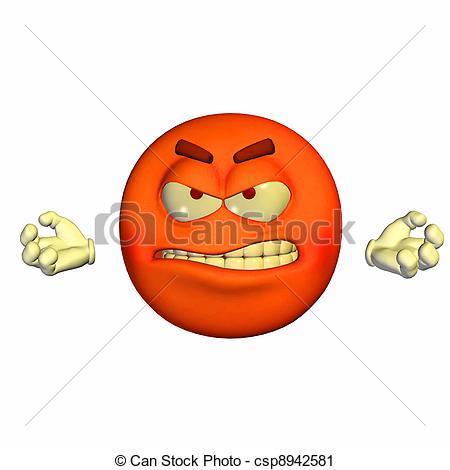 Clipart of Enraged Emoticon.