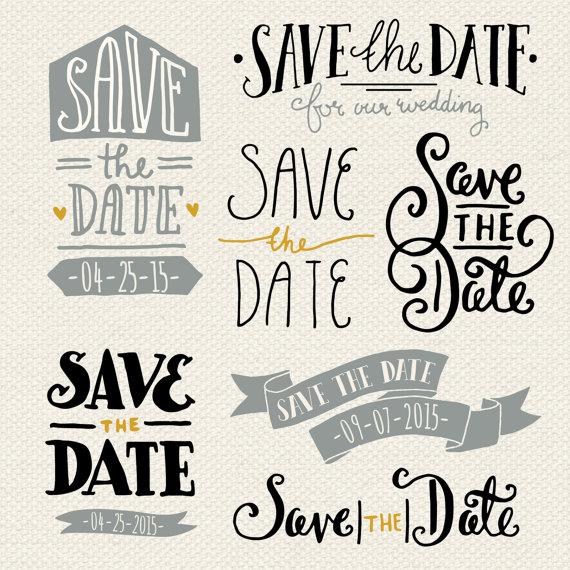 Enregistrer le Clipart Date, 7 Hand Lettered Enregistrer les.