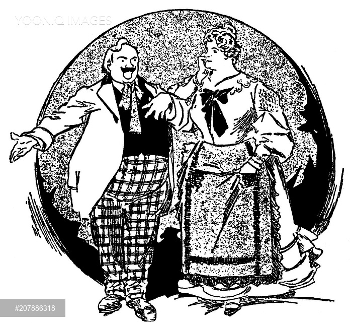 Caricature of Enrico Caruso and Marcella Sembrich playing the lead.