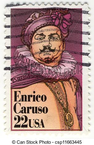Stock Photo of stamp with great singer Enrico Caruso csp11663445.