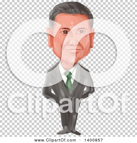 Clipart of a Watercolor Caricature of the President of Mexico.